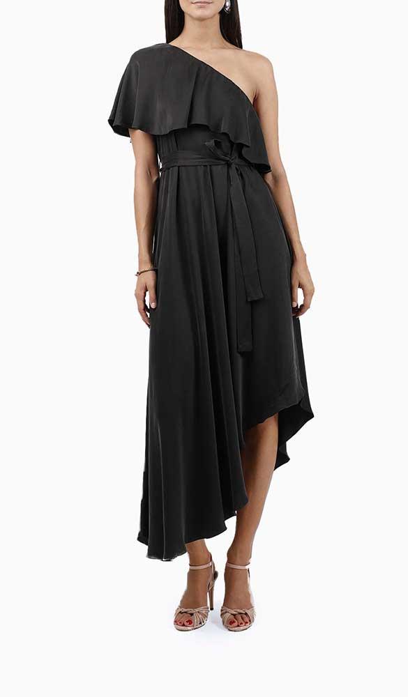 Location robe Zimmermann One Shoulder Noire - Une Robe Un Soir