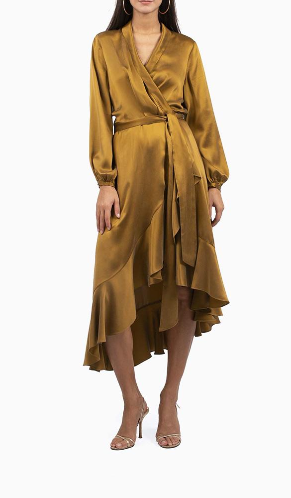 Location robe Zimmermann Wrap Flounce Bronze - Une Robe Un Soir